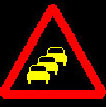 Motorway queue sign