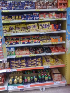 Easter Eggs on the shelves at Tesco